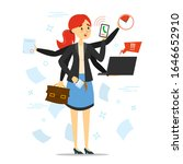 busy woman trying to do many... | Shutterstock .eps vector #1646652910