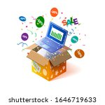 open textured box with laptop... | Shutterstock .eps vector #1646719633