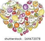 fruit arranged in heart shape | Shutterstock .eps vector #164672078