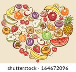 fruit arranged in heart shape | Shutterstock .eps vector #164672096