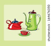 tea pots family. | Shutterstock .eps vector #164676350