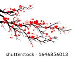 spring blooming red hearts... | Shutterstock .eps vector #1646856013