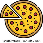 pepperoni pizza hand drawn icon | Shutterstock .eps vector #1646859430
