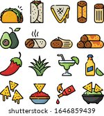 mexican foods hand drawn icon... | Shutterstock .eps vector #1646859439