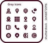 gray icon set. 16 filled gray...
