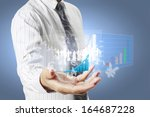 businessman with financial... | Shutterstock . vector #164687228
