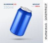 mockup blue aluminum bottle...   Shutterstock .eps vector #1646949619