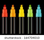 colorful text highlighter pens  ... | Shutterstock . vector #164704010
