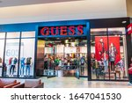 Small photo of Jan 31, 2020 Milpitas / CA / USA - Guess store in a South San Francisco Bay area mall; Guess (styled as GUESS or Guess?) is an American clothing brand and retailer