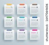 9 infographics rectangle paper... | Shutterstock .eps vector #1647064606