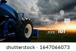 Small photo of IOT smart farming, agriculture in industry with artificial intelligence and machine learning concept.Automatic tractor using carrier-phase differential GPS. Smart Technology 4.0 or society 5.0