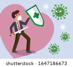 vector fight virus. cartoon man ... | Shutterstock .eps vector #1647186673