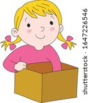 a girl with a surprise box  a... | Shutterstock .eps vector #1647226546