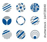 set of nine abstract circle... | Shutterstock .eps vector #164728340