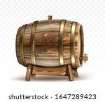 wooden barrel for wine  beer or ... | Shutterstock .eps vector #1647289423