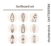 surfboard hand drawn doodle set.... | Shutterstock .eps vector #1647300586