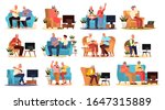 old people playing video games... | Shutterstock .eps vector #1647315889