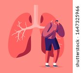 man coughing near huge diseased ... | Shutterstock .eps vector #1647325966