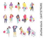 isometric people shopping man... | Shutterstock .eps vector #1647379690