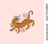 vector card with cute ornate... | Shutterstock .eps vector #1647414889