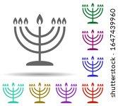 menorah in multi color style...