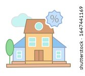 mortgage sign icon. simple line ...