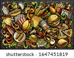 fastfood hand drawn cartoon... | Shutterstock .eps vector #1647451819