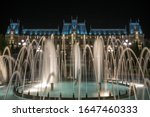The famous Palace of Culture in Iasi, Romania with fountains in front of it