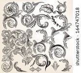 vector set of calligraphic... | Shutterstock .eps vector #164747018