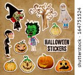 halloween stickers | Shutterstock . vector #164751524