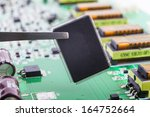 micro chip  macro close up with ... | Shutterstock . vector #164752664