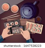 man taking photos of food on... | Shutterstock .eps vector #1647528223