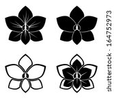 four orchid silhouettes for... | Shutterstock .eps vector #164752973