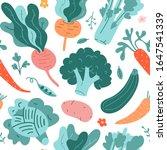 vegetable pattern  seamless...   Shutterstock .eps vector #1647541339