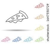 a piece of pizza in multi color ...