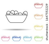 boiled eggs in plate in multi...