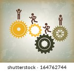 human resources over vintage... | Shutterstock .eps vector #164762744
