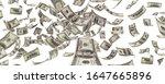 flying hundred american paper... | Shutterstock . vector #1647665896