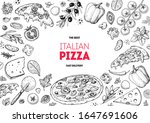 italian pizza and ingredients.... | Shutterstock .eps vector #1647691606