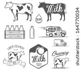 set of milk and creamery labels ... | Shutterstock .eps vector #164770034