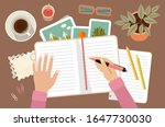 woman hands holding pen and... | Shutterstock .eps vector #1647730030