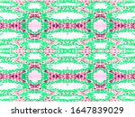 green  red geo symmetric ikat... | Shutterstock . vector #1647839029