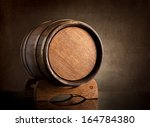 Old Wooden Barrel On A...