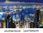 hong kong skyline from peak at... | Shutterstock . vector #164789699