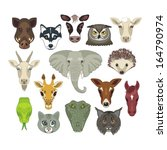 set with heads of various wild... | Shutterstock .eps vector #164790974