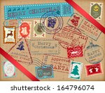 christmas stamps. retro... | Shutterstock .eps vector #164796074