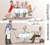 people at cafe and restaurant   ...   Shutterstock .eps vector #164797013