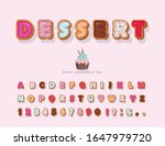 sweet cartoon font. decorative...   Shutterstock .eps vector #1647979720