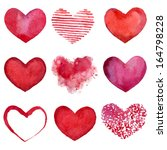 Set of watercolor hearts. Vector illustration | Shutterstock vector #164798228