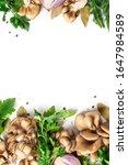 frame of mushrooms  parsley ...